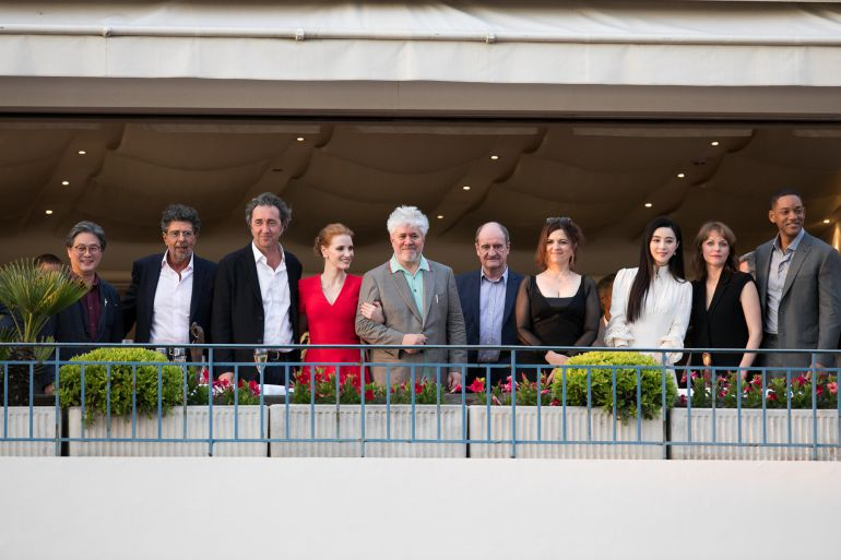 Director Park Chan-wook, music composer Gabriel Yared, director Paolo Sorrentino, actress Jessica Chastain, director Pedro Almodovar, Pierre Lescure, director Agnes Jaoui, actress Fan Bing Bing, director Maren Ade and actor Will Smith attend the official jury dinner of the 70th Annual Cannes Film Festival at Martinez Hotel on May 16, 2017 in Cannes, France