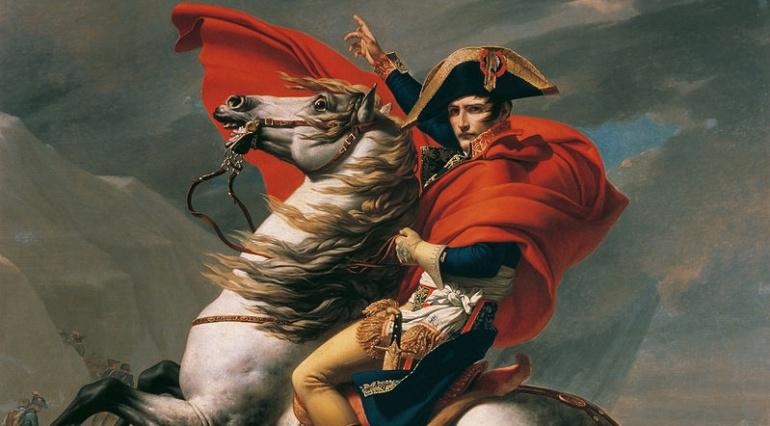 Napoleón cruzando los Alpes (1801), localizada actualmente en el Palacio de Charlottenburg, en Berlín.