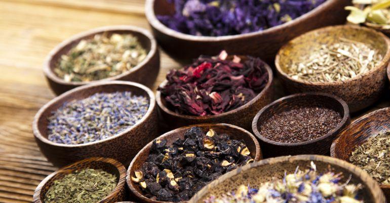 Varios cuencos de medicina hierbática