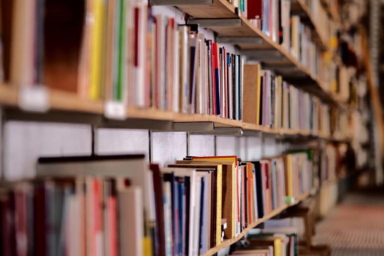 Libros en estanterías