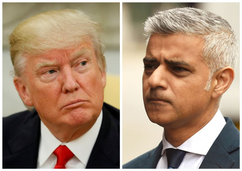 A combination photo shows U.S. President Donald Trump (L) in the Oval Office at the White House in Washington, DC, U.S. on May 31, 2017 and Mayor of London Sadiq Khan at the scene of the attack on London Bridge and Borough Market in central London, Britain,