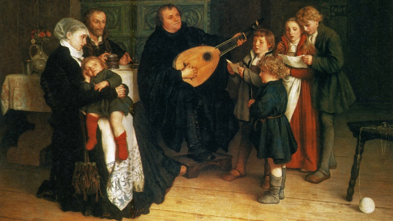Escena familiar de Lutero con su esposa y cinco de sus hijos, en un óleo sobre lienzo de 1866 expuesto en el Museo de Bellas Artes de Leipzig.