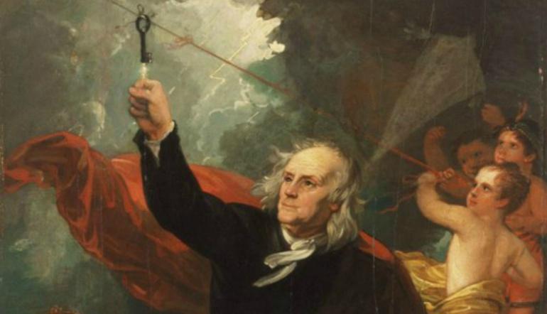 Benjamin Franklin, realizando su Famoso experimento con la cometa y la llave durante la tormenta que se desató en Filadelfia aquel 15 de junio.