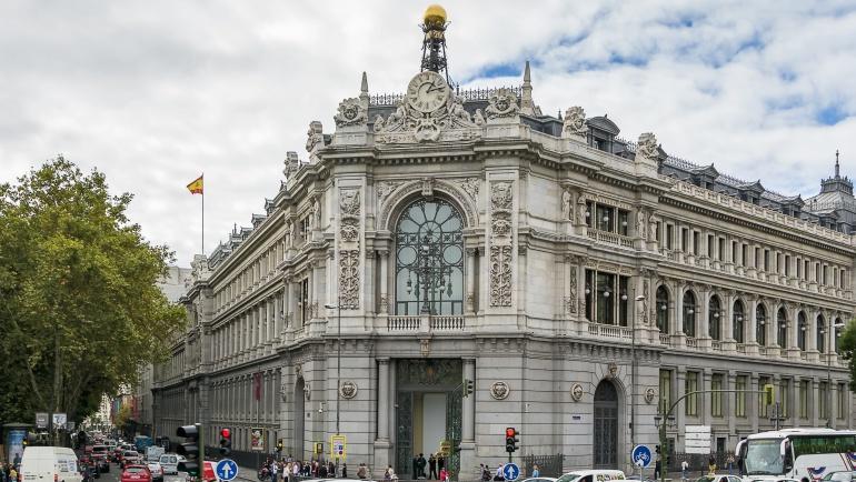 Imagen de la fachada del Banco de España, con sede en la Calle de Alcalá de Madrid.