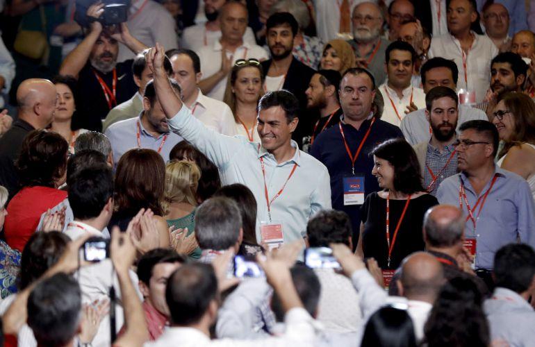 El líder del PSOE, Pedro Sánchez, a su llegada al 39 congreso federal de los socialistas este sábado en Madrid.