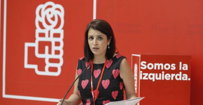 La nueva vicesecretaria general del PSOE, Adriana Lastra, durante el Congreso del partido de este fin de semana