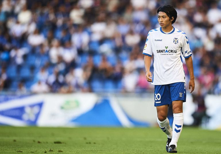 Gaku Shibasaki of CD Tenerife looks on during  La Liga 2 play off round between CD Tenerife at Heliodoro Rodriguez Lopez Stadium on June 18, 2017 in Tenerife, Spain.  (Photo by Aitor Alcalde/Getty Images)