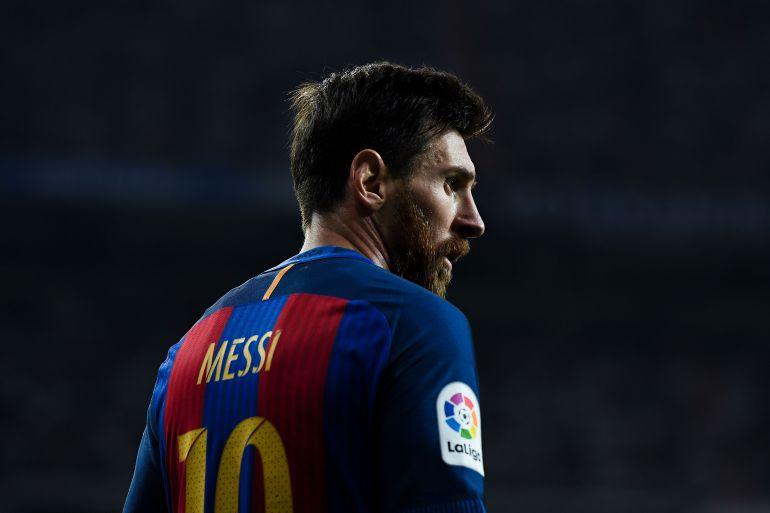 Messi, durante un partido con el Barça