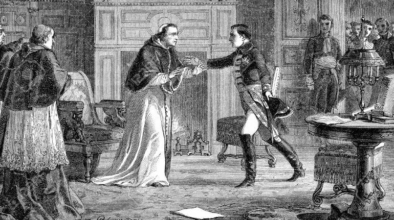 Grabado en blanco y negro que refleja la visita que le hizo Napoleón a Pío VII durante su secuestro en Fontainebleau.