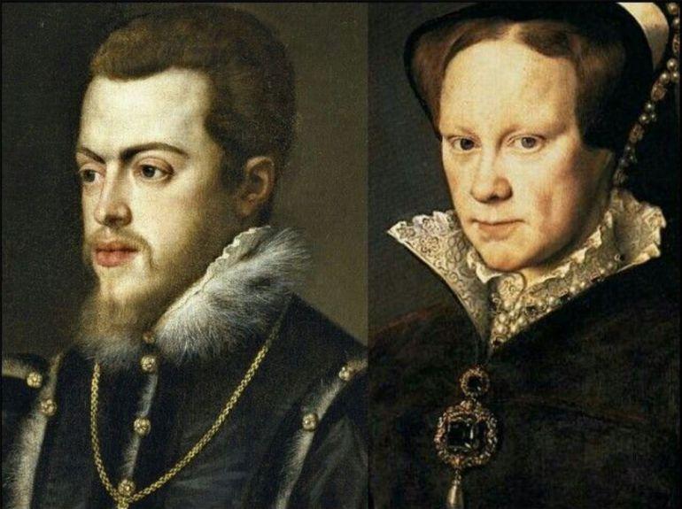 Retratos de Felipe y su tía María. El retrato de ella es de Antonio Moro, pintado en 1554. El de Felipe es del taller de Tiziano, 1551