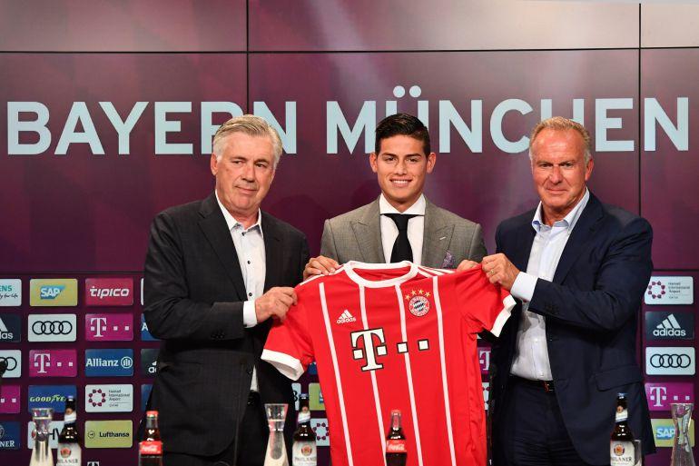 James Rodríguez el día de su presentación con el Bayern