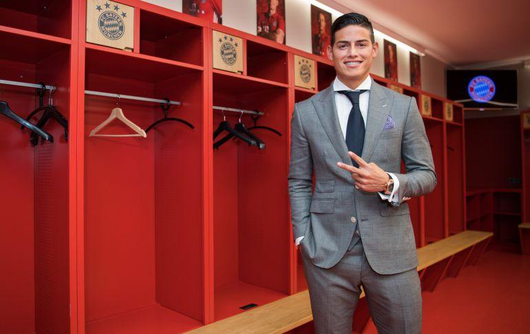 James Rodríguez en el vestuario del Allianz Arena