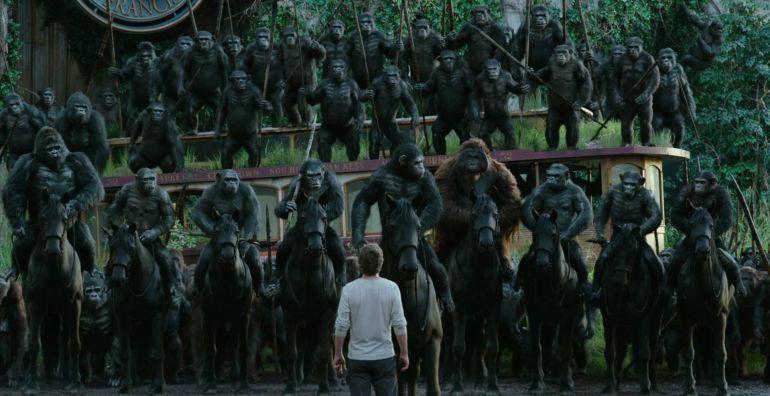 Un frame del film 'La guerra del planeta de los simios' (horitzontal).