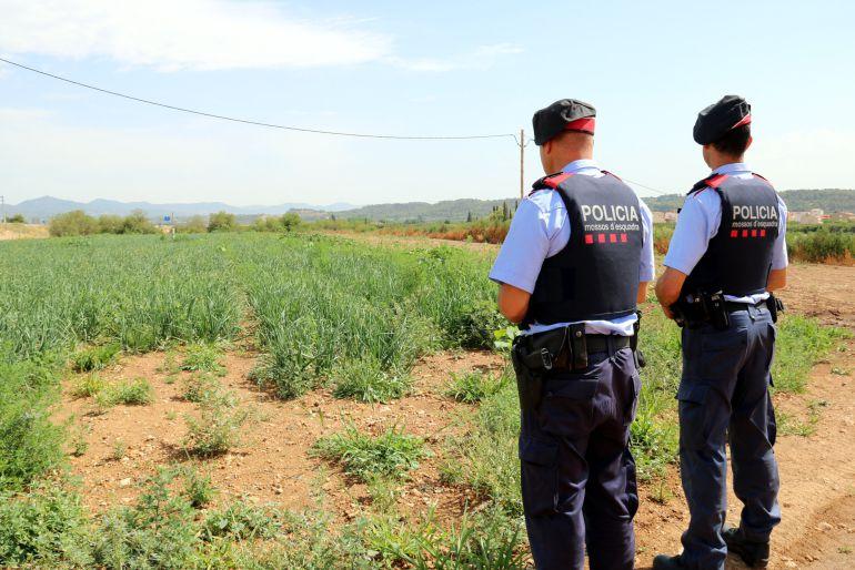 Dos agentes de los Mossos d'Esquadra en servicio de patrulla en una zona rural.