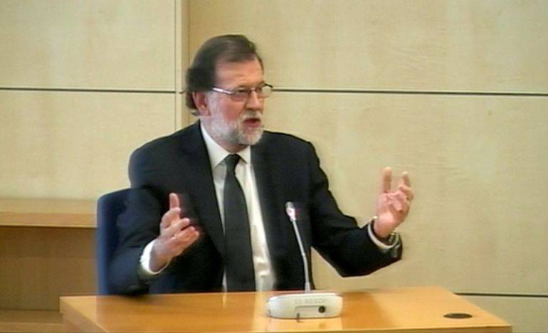 Spain's Prime Minister Mariano Rajoy testifies as a witness in the Gurtel corruption trial in this still image from video in San Fernando de Henares, outside Madrid, Spain July 26, 2017. REUTERS TV via REUTERS     TPX IMAGES OF THE DAY