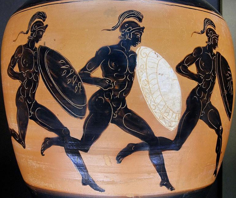 Un ánfora del siglo IV antes de nuestra Era, decorada con hemerodromos.