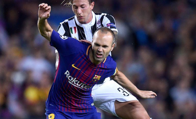 Andrés Iniesta, en el partido del Barcelona ante la Juventus.