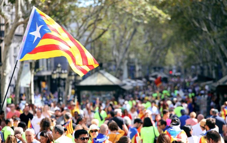 Vista de Las Ramblas de Barcelona en la Diada de 2017