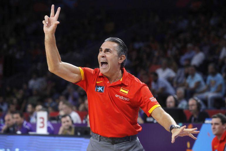Sergio Scariolo durante el partido de semifinal del Eurobasket 2017.