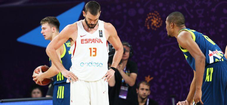 Marc Gasol, en la derrota de España ante Eslovenia en el Eurobasket.
