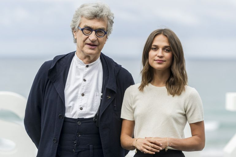 Wim Wenders and Alicia Vikander attend 'Submergence' photocall during 65th San Sebastian Film Festival on September 22, 2017 in San Sebastian, Spain