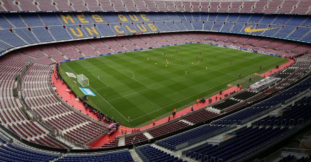 Vista general del Camp Nou vacío durante el Barcelona-Las Palmas