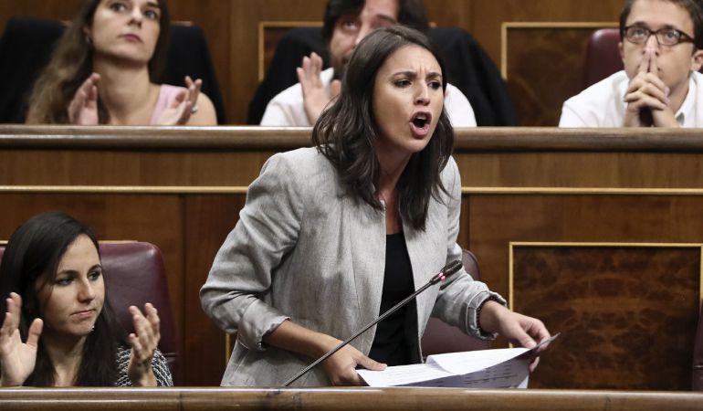 La portavoz parlamentaria de Unidos Podemos, Irene Montero.