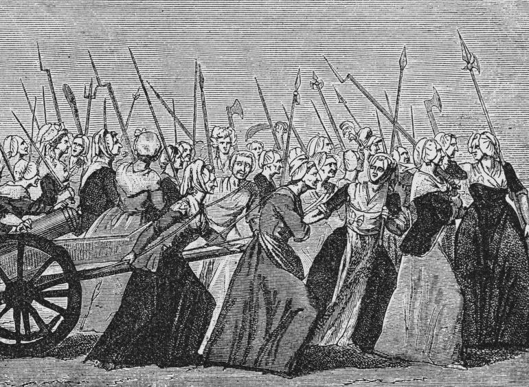 Mujeres armadas encabezan la marcha sobre Versalles