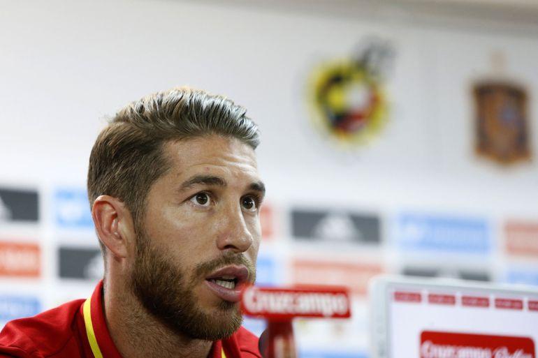 Sergio Ramos, en la sala de prensa