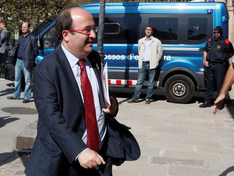 Miquel Iceta, a su llega al Parlamento catalán
