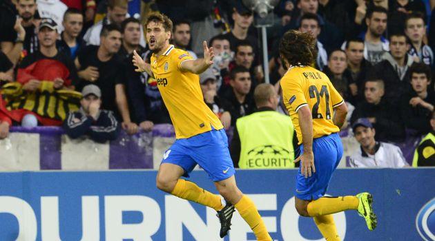 Fernando Llorente celebra un gol con la Juventus en el Bernabéu
