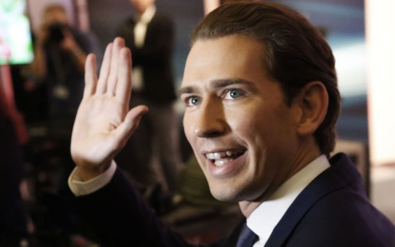 Top candidate of Peoples Party (OeVP) and Foreign Minister Sebastian Kurz arrives for the first TV statements after Austria's general election in Vienna, Austria, October 15, 2017.