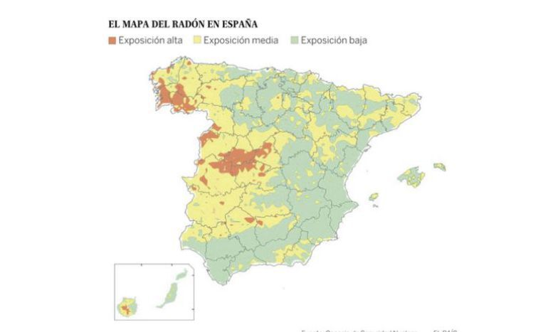 Mapa de España que muestra las principales concentraciones del radón, un gas radiactivo que se genera en algunos tipos de suelos como las formaciones de granito.