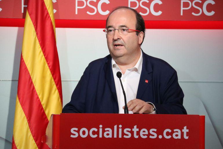 El líder de los socialistas catalanes, Miquel Iceta, durante un acto