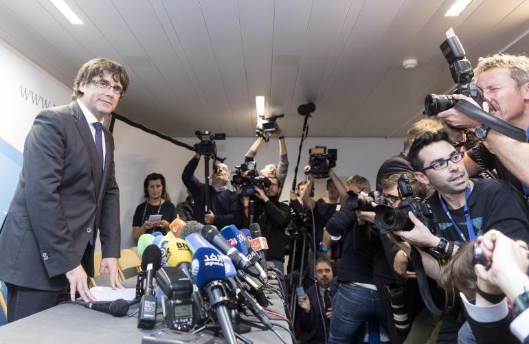 Carles Puigdemont en la rueda de prensa que ofreció en Bruselas el 31 de octubre