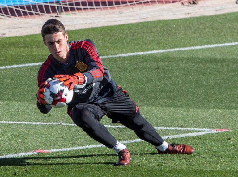 Kepa, durante un entrenamiento con la selección española