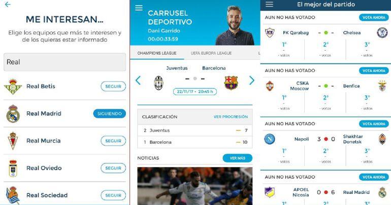 La aplicación de 'Carrusel Deportivo'.