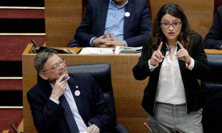 La vicepresidenta del Gobierno valenciano, Mónica Oltra, interviene en la sesión de control