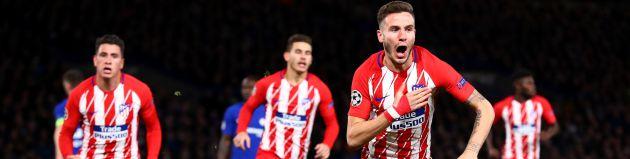 Saúl celebra el gol en Londres
