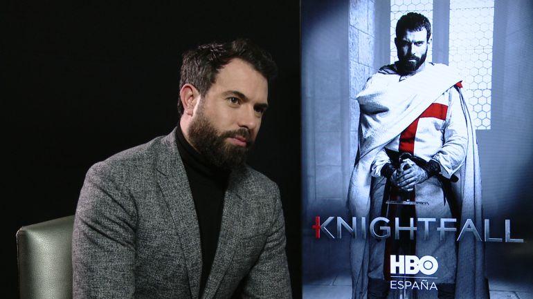 El actor galés Tom Cullen, durante la entrevista para la presentación de 'Knightfall' en Madrid