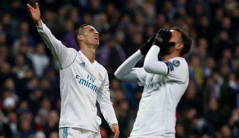 Cristano Ronaldo y Borja Mayoral se lamentan tras un error