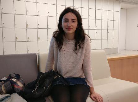 La estudiante hijas de Erasmus Ana Garre, en la Universidad Carlos III de Madrid