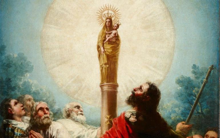 'El apóstol Santiago y sus discípulos, adorando a la Virgen del Pilar'