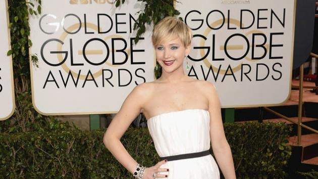 Jennifer Lawrence, durante la alfombra roja de los Globos de Oro 2014.