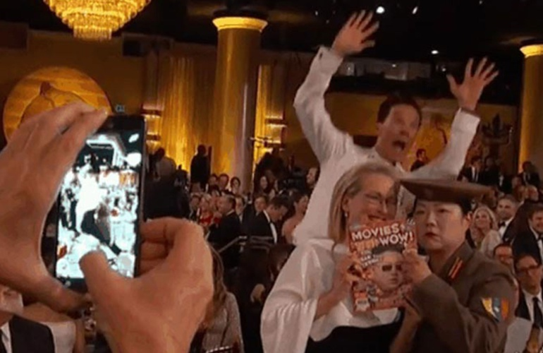 El famoso 'photobomb' de Benedict Cumberbatch a Meryl Streep.