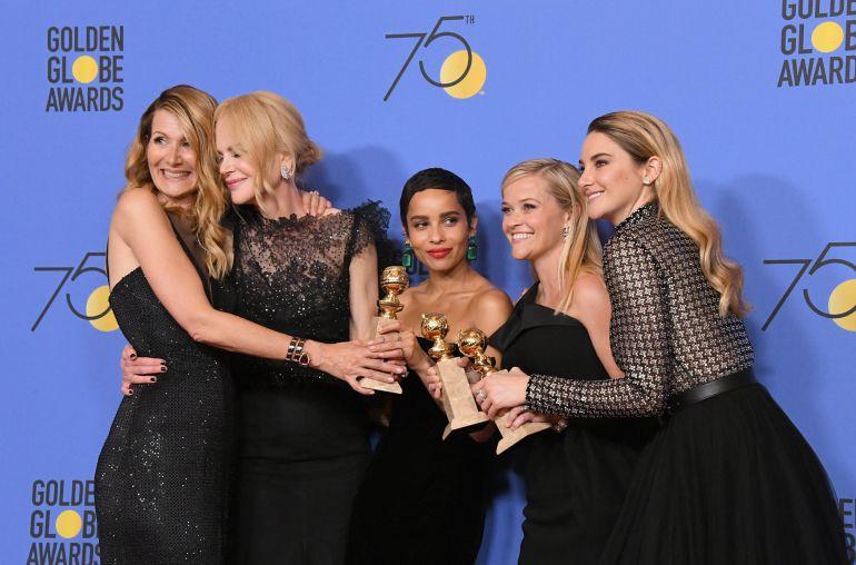Laura Dern, Nicole Kidman, Zoe Kravitz, Reese Witherspoon y Shailene Woodley celebran el éxito de 'Big Little Lies' en los Globos de Oro