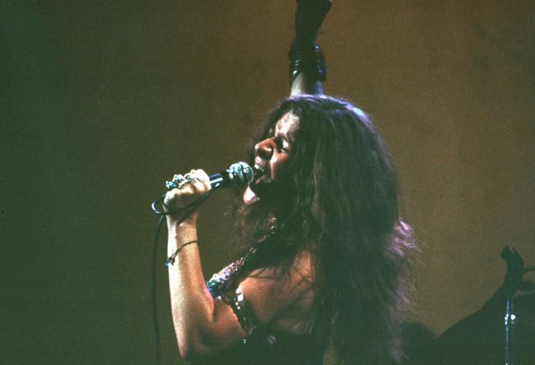 Janis Joplin durante una actuación en Nueva York 1968