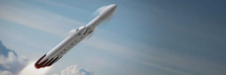 Simulación del despegue del cohete Falcon Heavy de la empresa Space X.