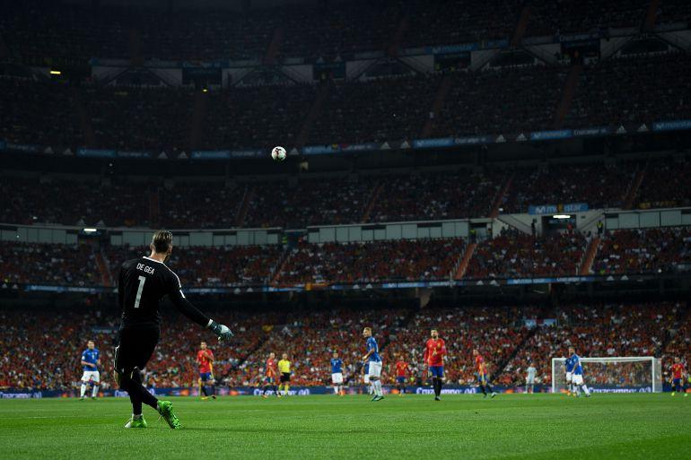 De Gea, en un partido con la Selección en el Bernabéu