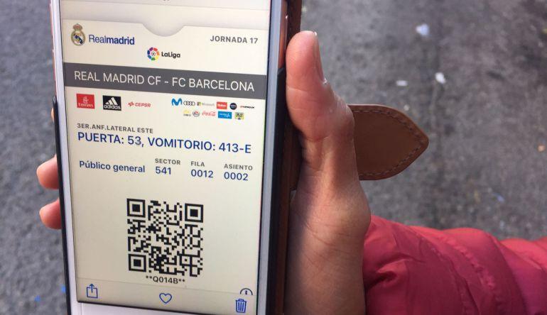 Imagen de una entrada revendida para el Clásico del Bernabéu